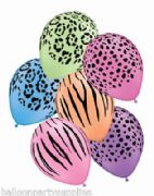 "5 x 11"" Neon Safari balloons assorted designs/Colours"